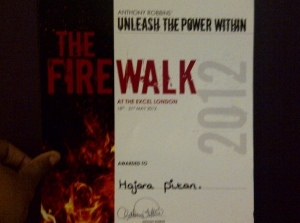 Of course I walked on FIRE! Whooooop whoop! He didn't me outside the box!- We burnt the box and roamed free!
