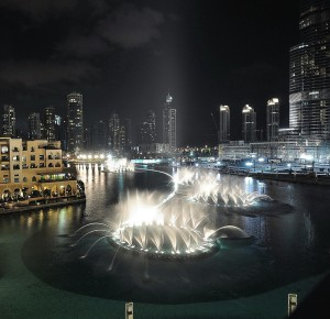 "The Dancing Fountain at the Mall of the Emirates! They start to ""perform"" at 6 p.m. and are a great and free delight!"