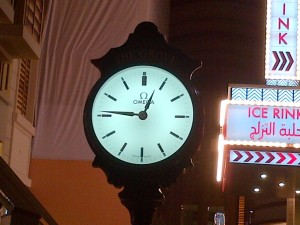 The Ice-Rink and these lovely Omega clocks that dot the Dubai landscape at Malls and Roundabouts
