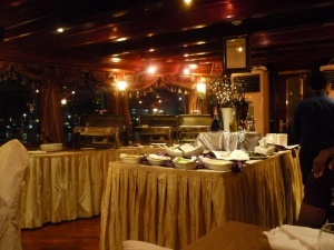 Inside the Dhow! The boats on which you have dinner while taking a cruise around  the waterways in Dubai.