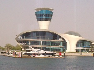 My future yacht berthed at the seaview restaurant of the Yas Viceroy (Common! A girl can dream now!)