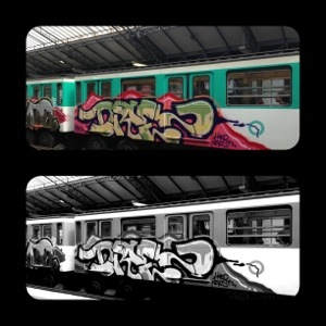 Graffiti on the train! Black and white and coloured!