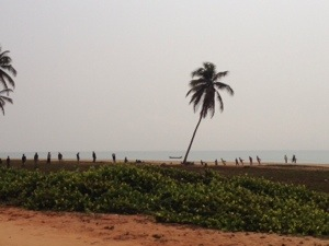 On our way into Ouidah, the town where Casa del Papa is in. we noticed these line of people holding a line which dropped into the sea, I assumed it was a fishing line.