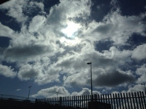 I am that girl with her head in the clouds. People make fun of me all the time- I don't mind, I keep my head up there and enjoy the company of the clouds.  As we drove out of the airport at Dublin, the sun peeked through the clouds to say hello
