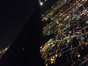 From the wings of an aircraft. Los Angeles at night!