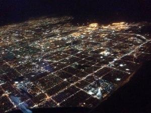 Skyline into Las Vegas at night.