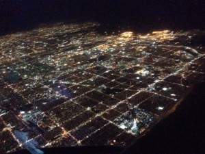 Skyline into Las Vegas at night.