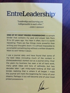 The letter from Dave that accompanied our leather bound notebooks