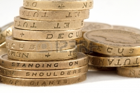 """2 pound coin, around them is written """"Climbing on shoulders of giants"""". Funny how I never saw that."""