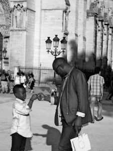 Fist bumping with dad at the Notre Dame