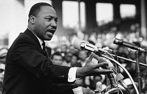 "Martin Luther King Junior delivering the iconic ""I have a Dream Speech""."