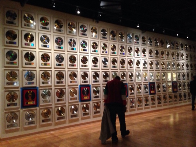 I stopped by this wall to enjoy the music, a lot of the records has buttons you could press and listen to songs from the albums displayed.
