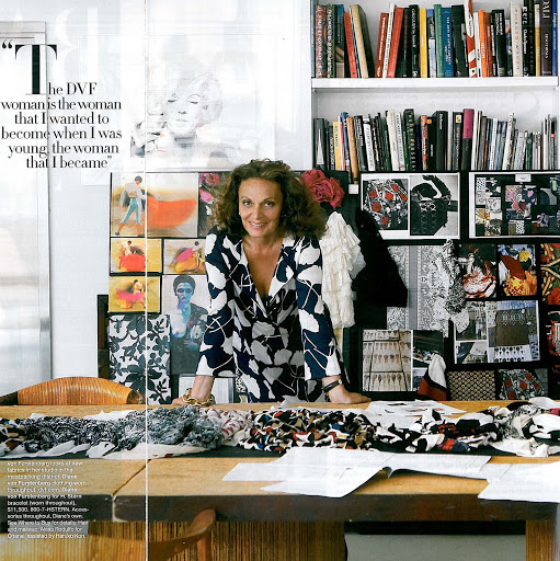 "Diane von Furstenberg, the mind behind the DVF brand. She is a woman I admire and who ""mentors"" me from afar! She inspired today's thoughts… Photo courtesy habituallychic.luxury.com"