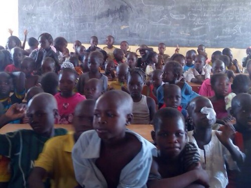 In one of the classrooms at the Camp