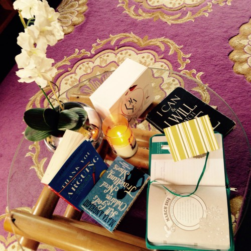 Okay, this is what it actually looked like before I prepped it for the photo above. I always feel a need to create an oasis or set a tone even within my space, so this morning, I enjoyed the company of my white orchid, a lovely Tes Amour pure soy scented candle (which I make) and my journals... I can't decide which is my book for the week (I try to read a book every 10 days) but this week, I may just read both depending on how I'm feeling...